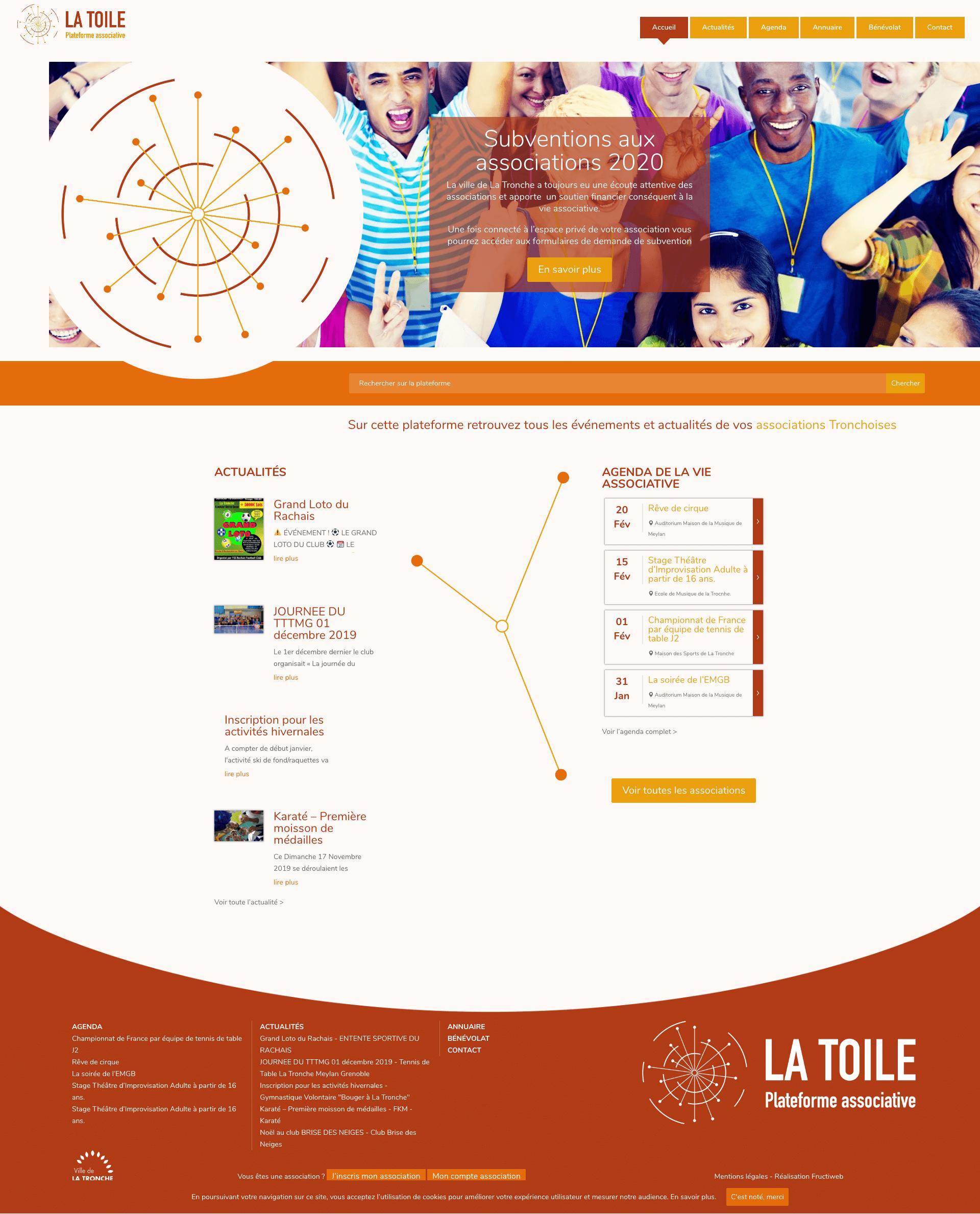 Capture d'écran du site web de La Toile La Tronche