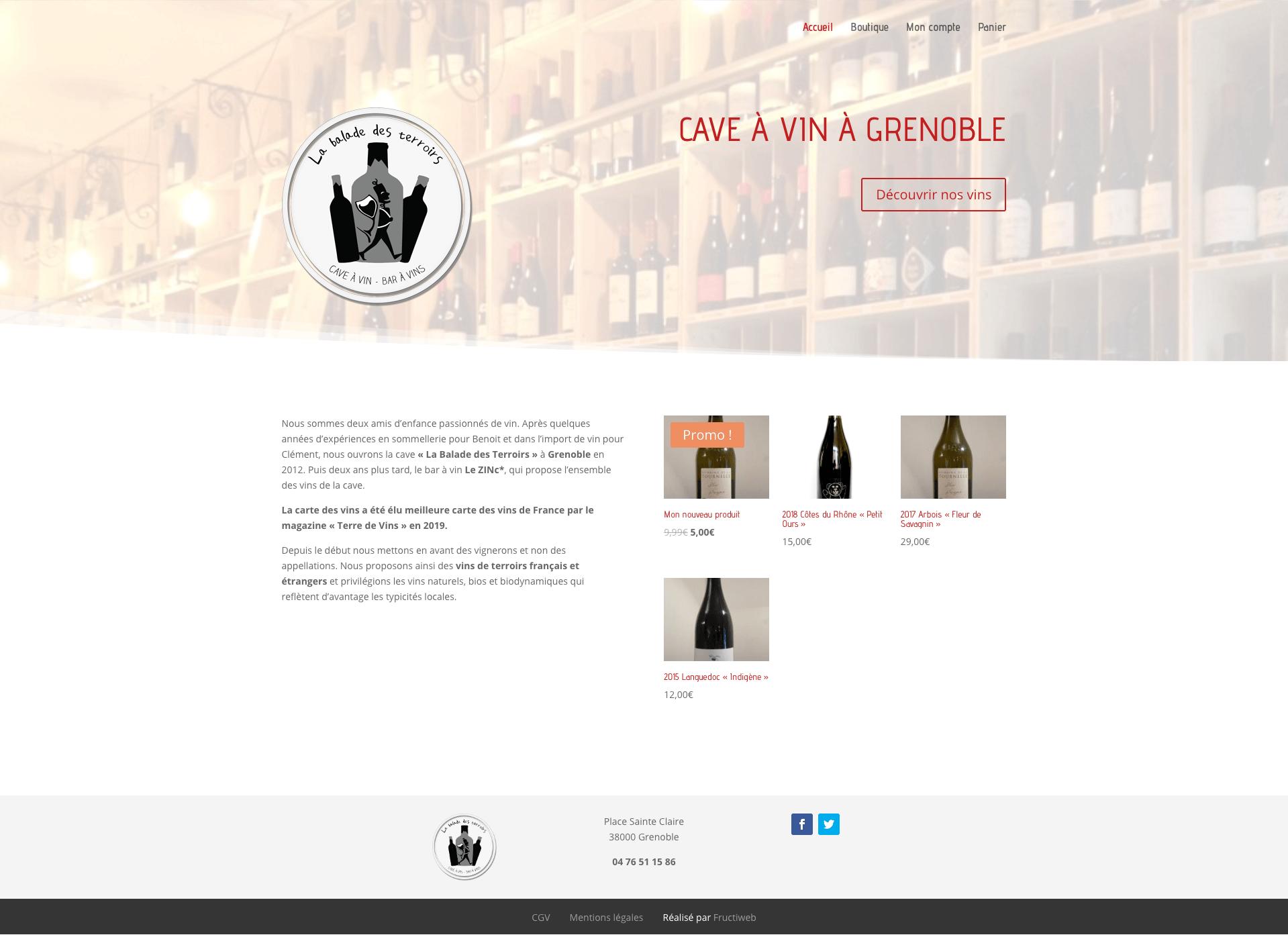 Capture d'écran du site de La balade des terroirs